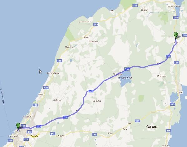 Dagens etapp, start från färjan i Visby till vandrarhemmet i Lärbro