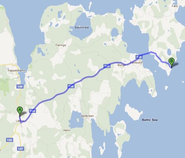 Dag tvås etapp, Fårö tur och retur från Lärbro