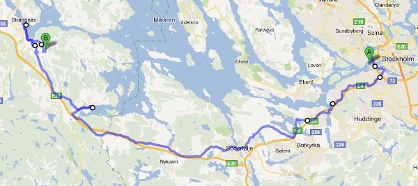 Kartan för första dagen. Avstickare till Mariefred och middag i Strängnäs.