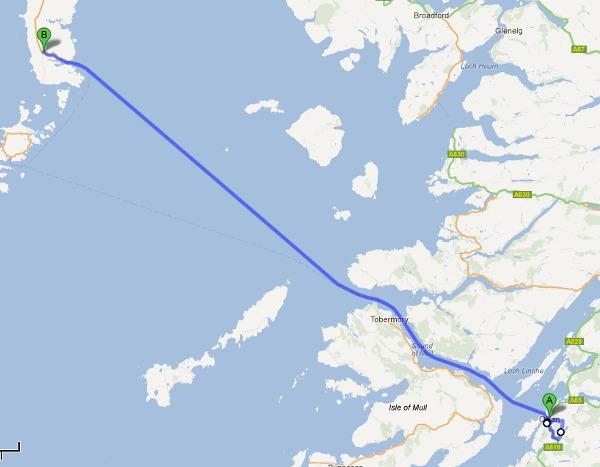 Sträckningen för dag 3 av Skottlandsresan. En liten tur kring Oban och sedan mest färja.