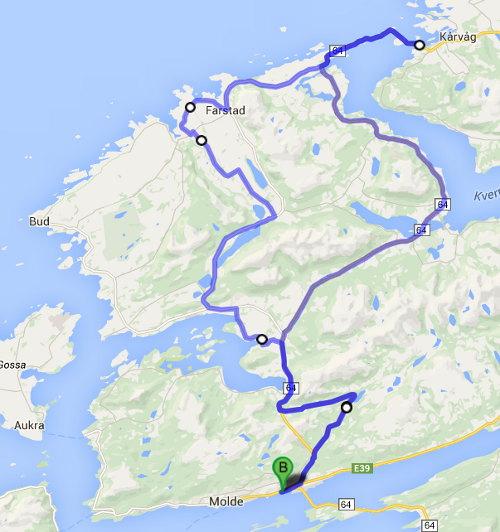 Andra dagens cykling inklusive Atlanterhavsveien längst norrut.