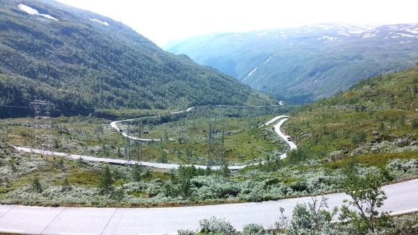 Serpentinerna på Tindevegen som sträcker sig vackert över bergen norrut från Övre Årdal till väg 55.