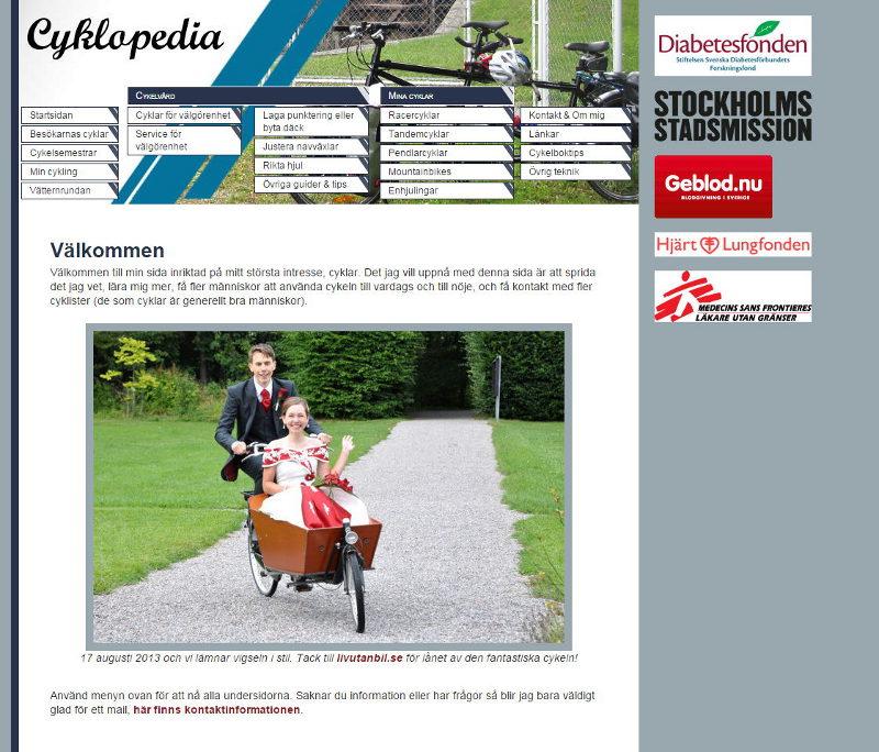 cyklopedia.se som den såg ut 29/2-2016