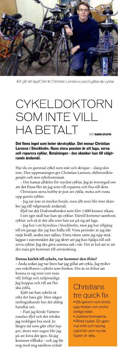 Jag är med i tidningen Cykla, nr 2/2011. Tack till tidningen för att jag fick vara med på ett hörn!